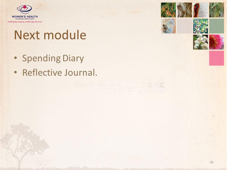 Next module Spending Diary Reflective Journal. 48
