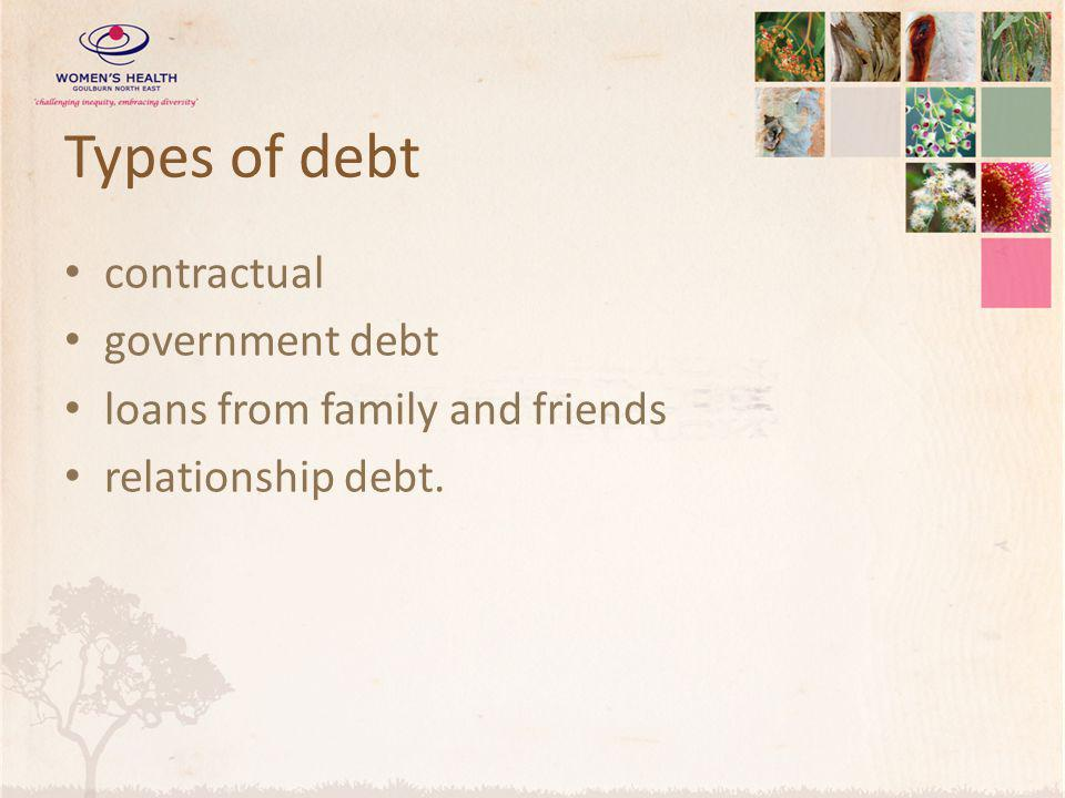 Types of debt contractual government debt loans from family and friends relationship debt.