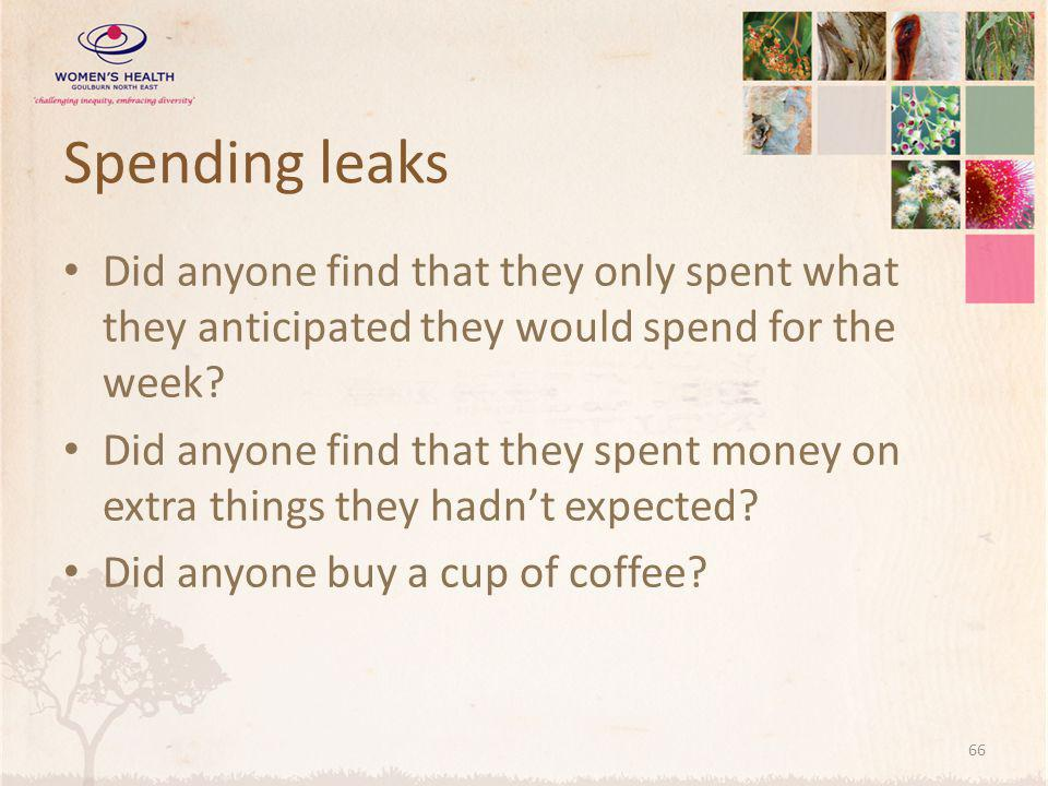 Spending leaks Did anyone find that they only spent what they anticipated they would spend for the week.