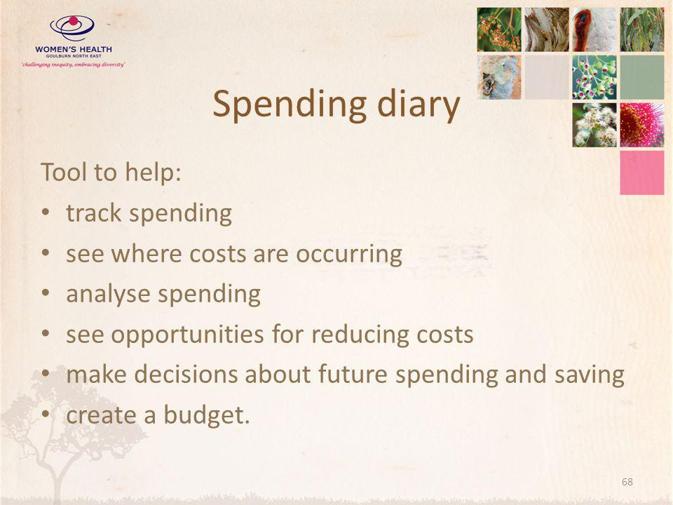 Spending diary Tool to help: track spending see where costs are occurring analyse spending see opportunities for reducing costs make decisions about future spending and saving create a budget.