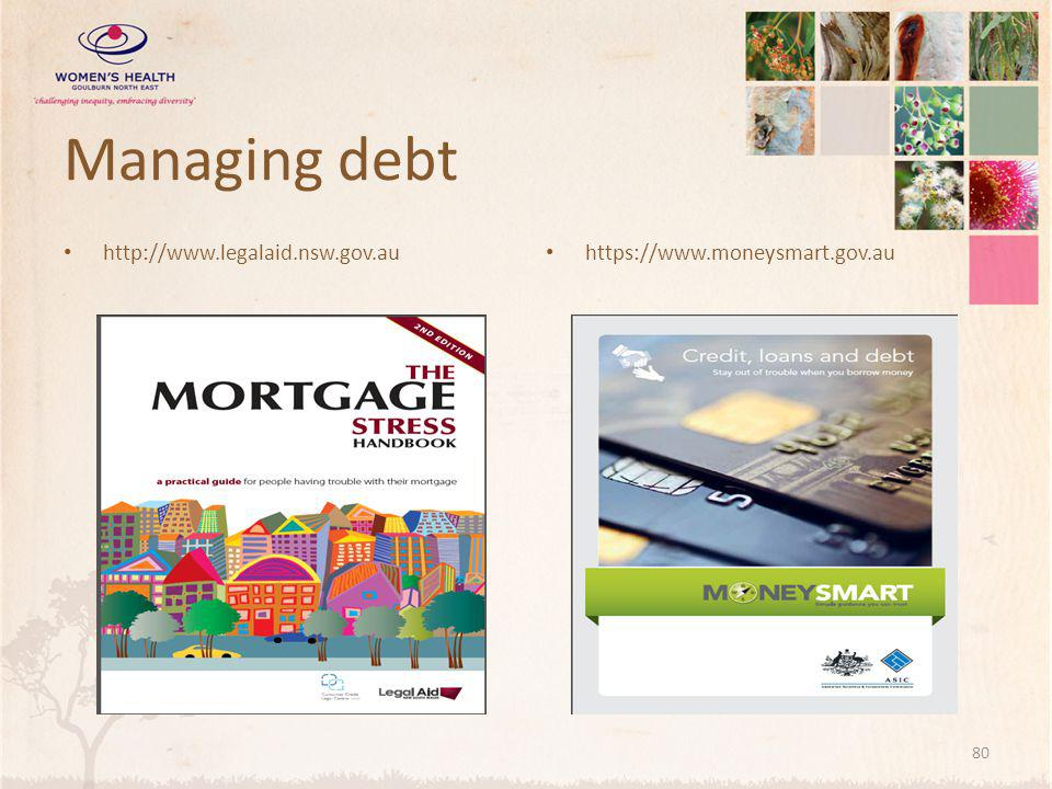 Managing debt http://www.legalaid.nsw.gov.au https://www.moneysmart.gov.au 80