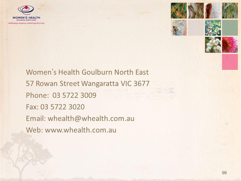 Women's Health Goulburn North East 57 Rowan Street Wangaratta VIC 3677 Phone: 03 5722 3009 Fax: 03 5722 3020 Email: whealth@whealth.com.au Web: www.wh