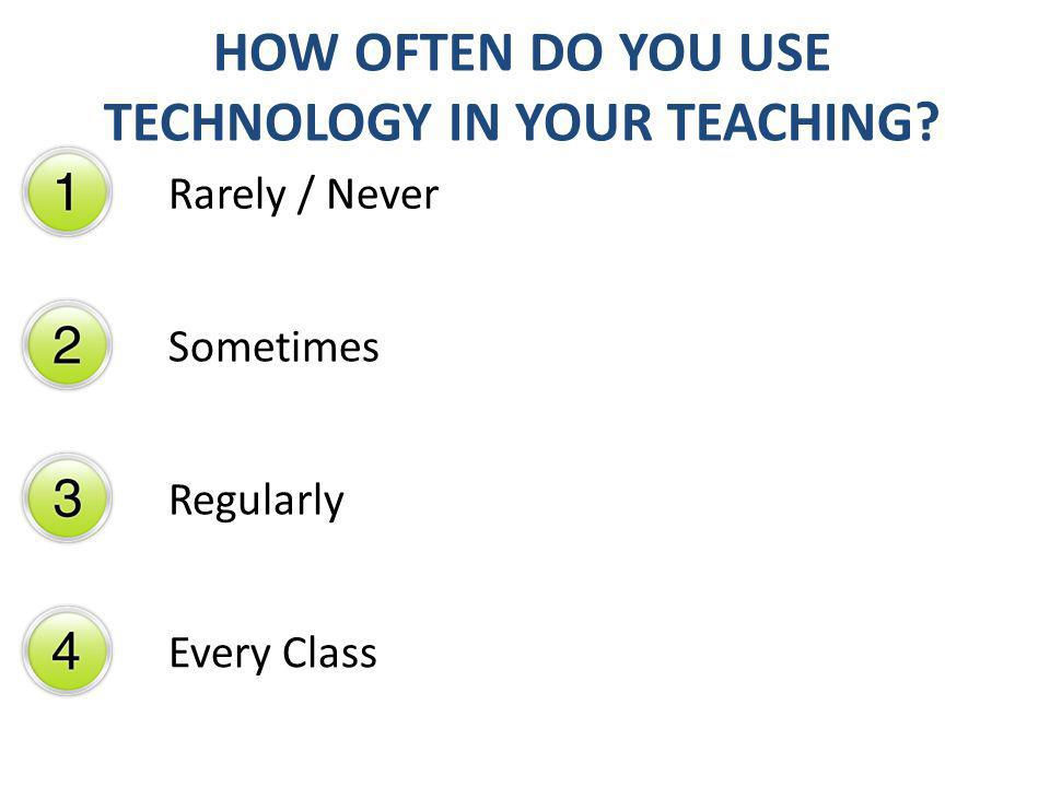 HOW OFTEN DO YOU USE TECHNOLOGY IN YOUR TEACHING? Rarely / Never Sometimes Regularly Every Class