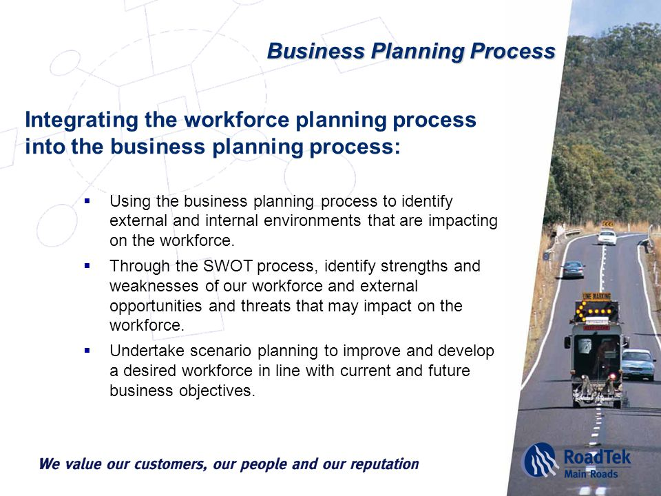 Business Planning Process Integrating the workforce planning process into the business planning process:  Using the business planning process to identify external and internal environments that are impacting on the workforce.