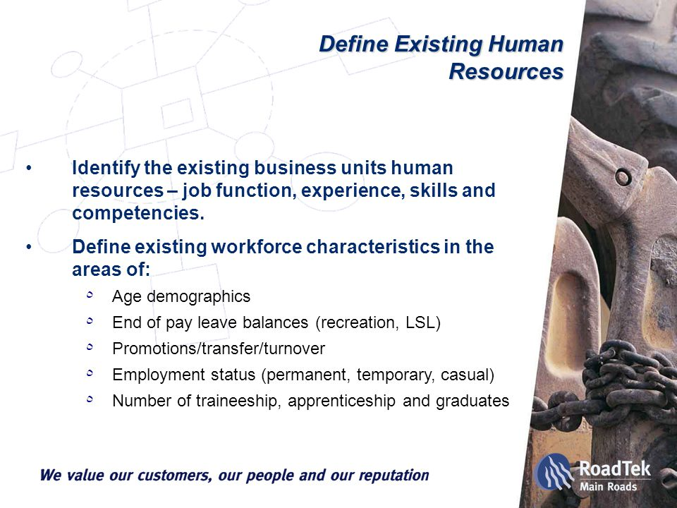 Define Existing Human Resources Identify the existing business units human resources – job function, experience, skills and competencies.