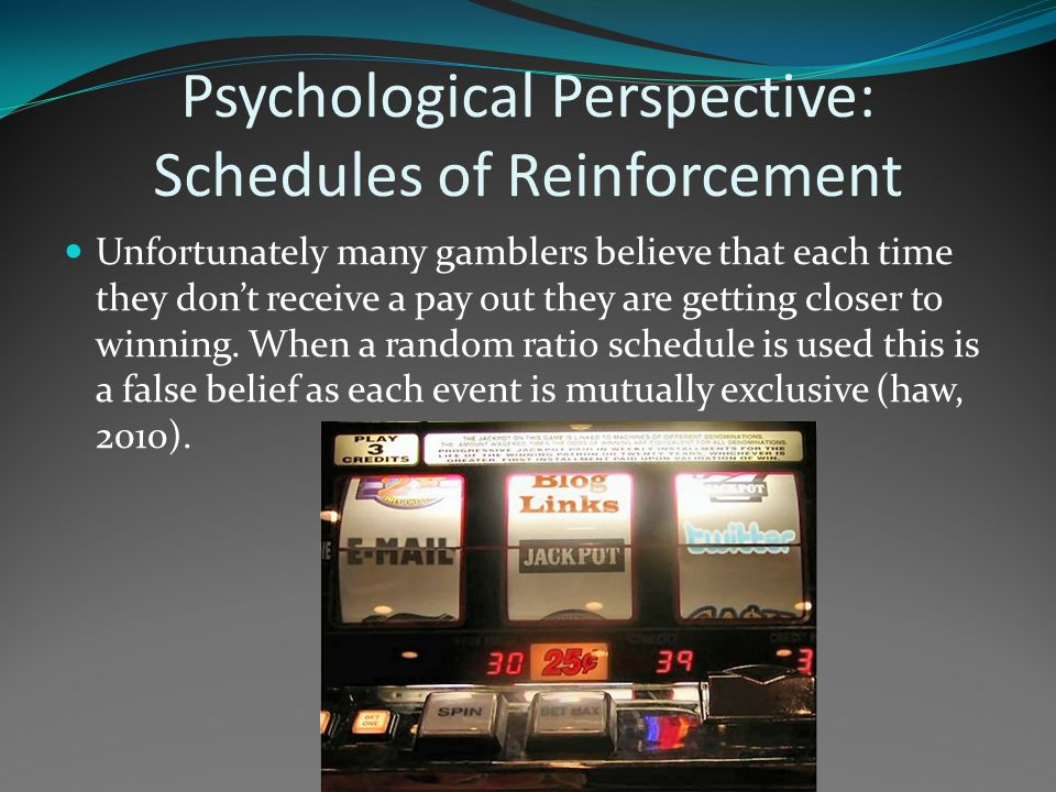 Psychological Perspective: Schedules of Reinforcement Unfortunately many gamblers believe that each time they don't receive a pay out they are getting