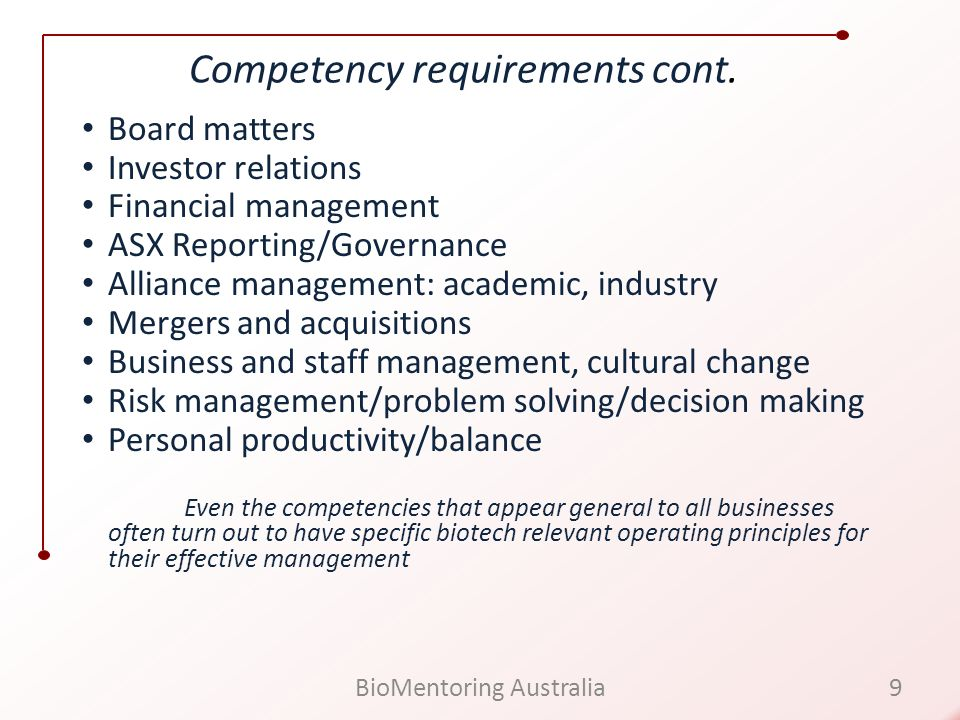 Competency requirements cont.