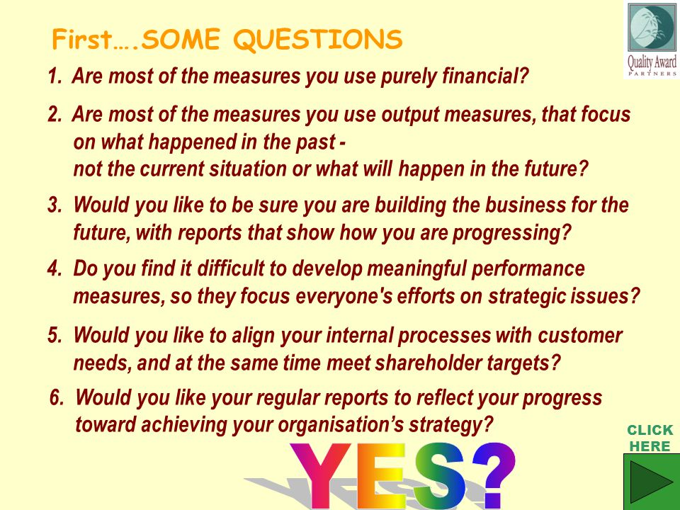 3. Would you like to be sure you are building the business for the future, with reports that show how you are progressing? 1. Are most of the measures