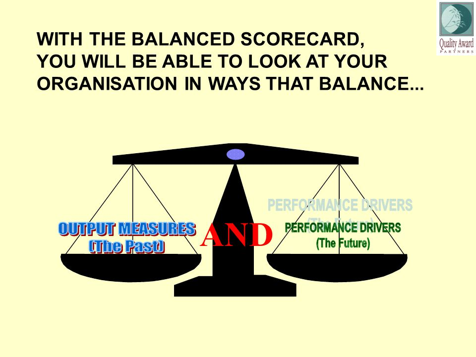 WITH THE BALANCED SCORECARD, YOU WILL BE ABLE TO LOOK AT YOUR ORGANISATION IN WAYS THAT BALANCE...