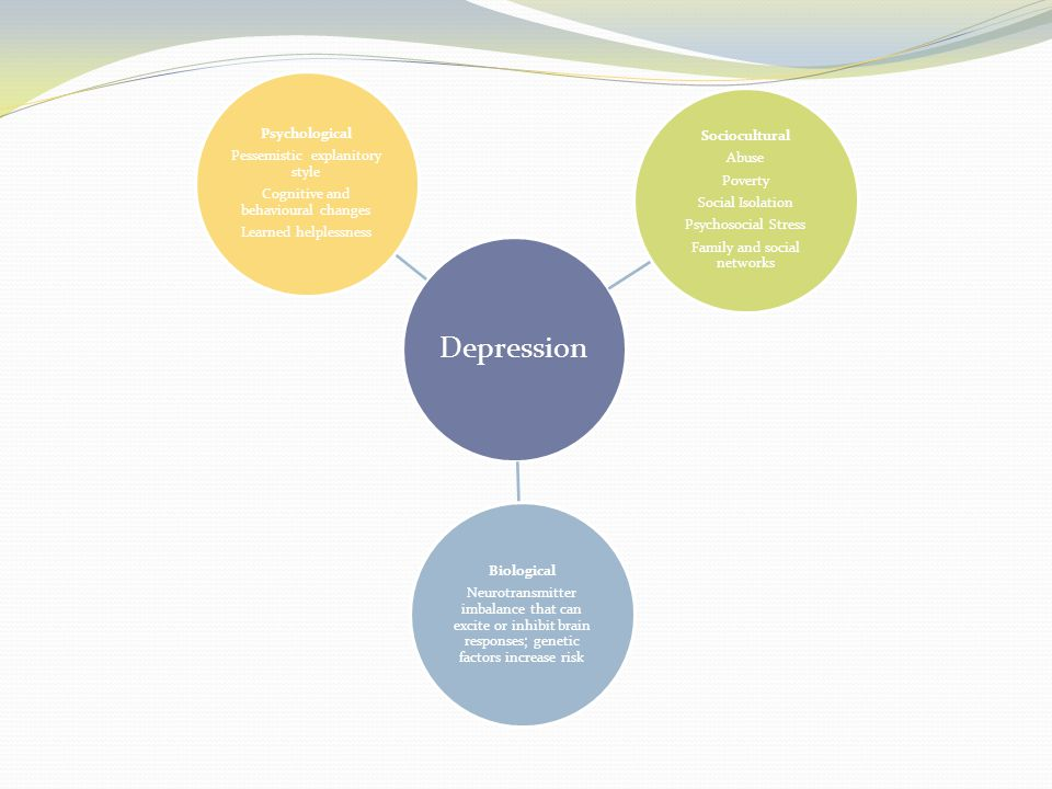 Depression Biological Neurotransmitter imbalance that can excite or inhibit brain responses; genetic factors increase risk Sociocultural Abuse Poverty