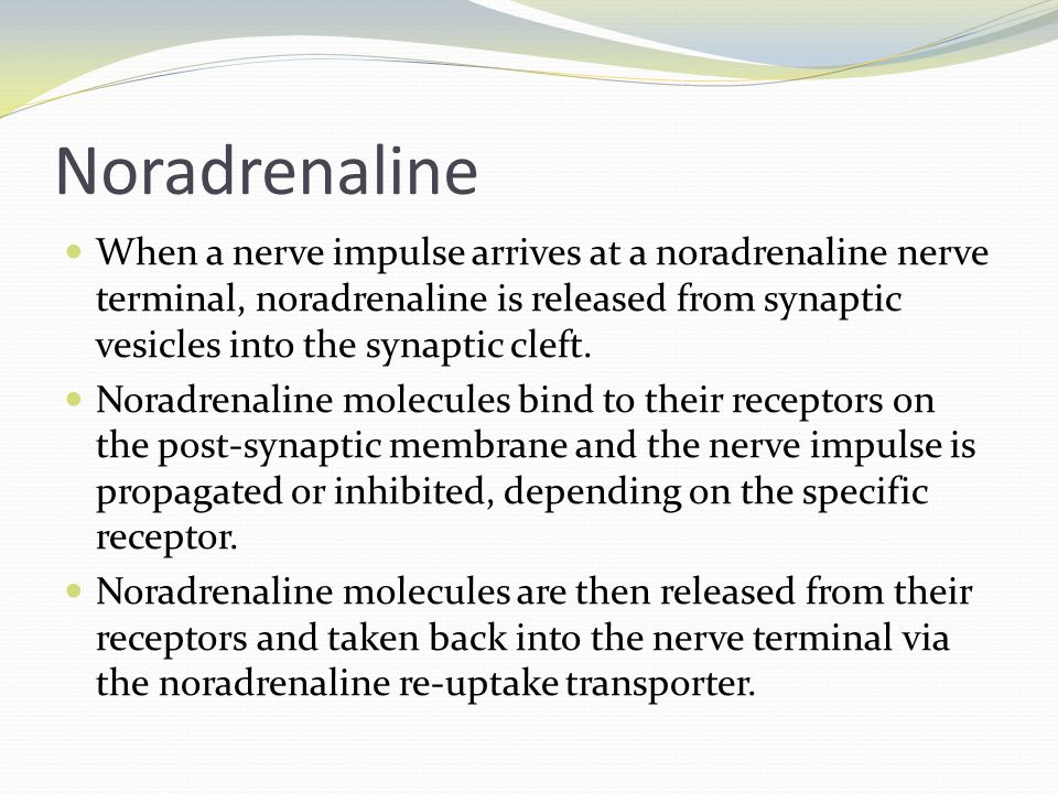 Noradrenaline When a nerve impulse arrives at a noradrenaline nerve terminal, noradrenaline is released from synaptic vesicles into the synaptic cleft