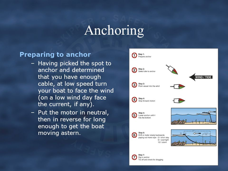 Anchoring Preparing to anchor –Having picked the spot to anchor and determined that you have enough cable, at low speed turn your boat to face the win