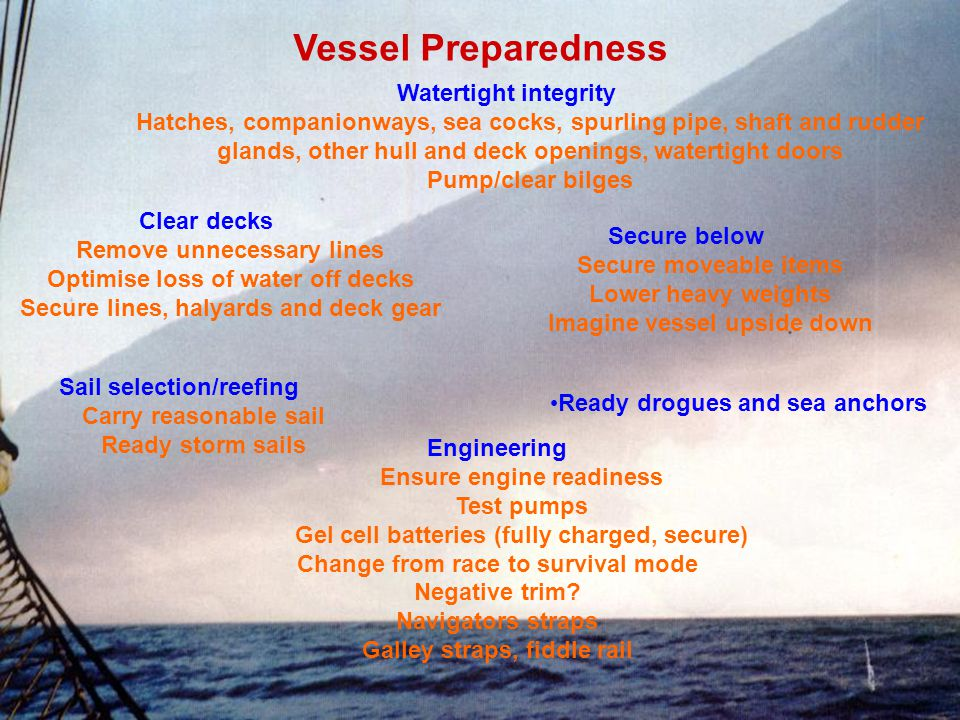 Vessel Preparedness Watertight integrity Hatches, companionways, sea cocks, spurling pipe, shaft and rudder glands, other hull and deck openings, watertight doors Pump/clear bilges Clear decks Remove unnecessary lines Optimise loss of water off decks Secure lines, halyards and deck gear Secure below Secure moveable items Lower heavy weights Imagine vessel upside down Sail selection/reefing Carry reasonable sail Ready storm sails Ready drogues and sea anchors Engineering Ensure engine readiness Test pumps Gel cell batteries (fully charged, secure) Change from race to survival mode Negative trim.