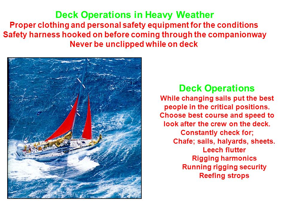 Deck Operations in Heavy Weather Proper clothing and personal safety equipment for the conditions Safety harness hooked on before coming through the companionway Never be unclipped while on deck Deck Operations While changing sails put the best people in the critical positions.