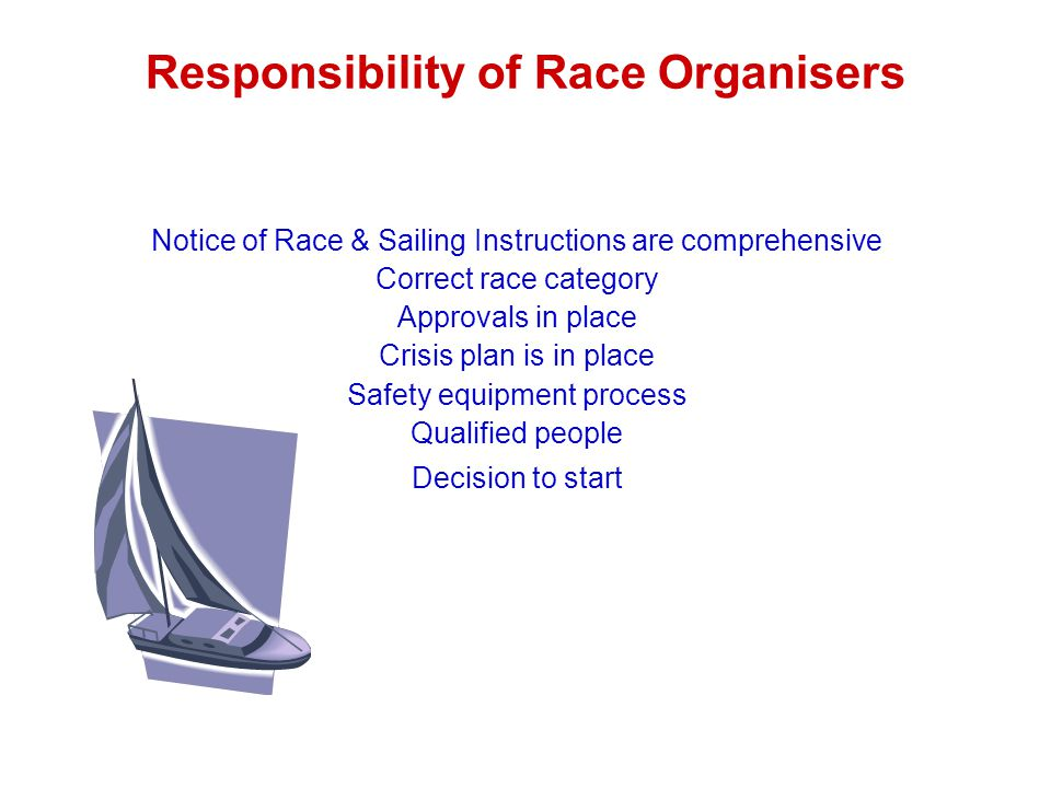 Responsibility of Race Organisers Notice of Race & Sailing Instructions are comprehensive Correct race category Approvals in place Crisis plan is in place Safety equipment process Qualified people Decision to start
