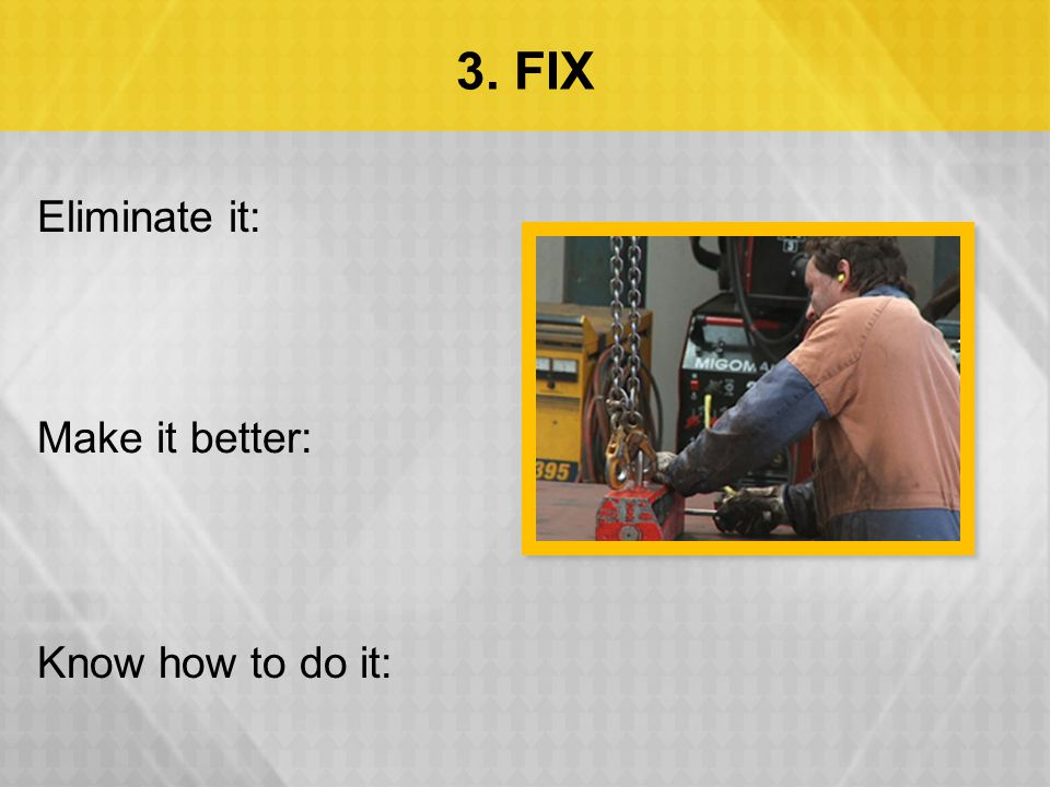 3. FIX Eliminate it: Make it better: Know how to do it: