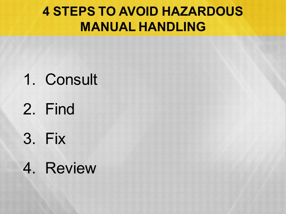 4 STEPS TO AVOID HAZARDOUS MANUAL HANDLING 1. Consult 2. Find 3. Fix 4. Review