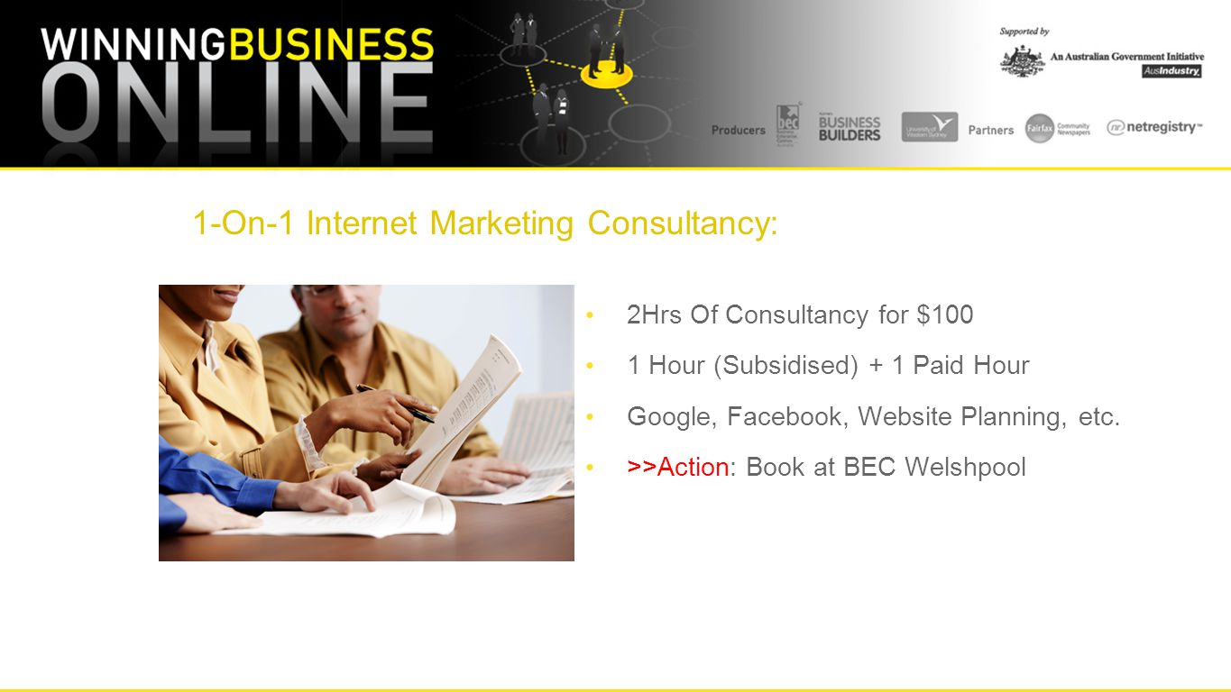 1-On-1 Internet Marketing Consultancy: 2Hrs Of Consultancy for $100 1 Hour (Subsidised) + 1 Paid Hour Google, Facebook, Website Planning, etc.