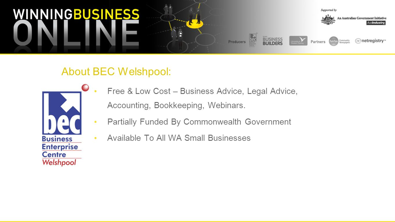 About BEC Welshpool: Free & Low Cost – Business Advice, Legal Advice, Accounting, Bookkeeping, Webinars.
