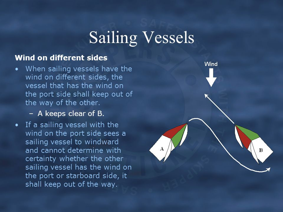 Sailing Vessels Wind on different sides When sailing vessels have the wind on different sides, the vessel that has the wind on the port side shall keep out of the way of the other.