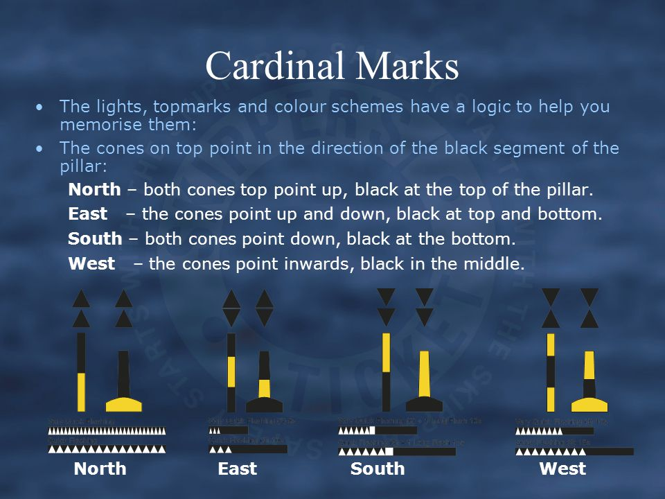 Cardinal Marks The lights, topmarks and colour schemes have a logic to help you memorise them: The cones on top point in the direction of the black segment of the pillar: North – both cones top point up, black at the top of the pillar.