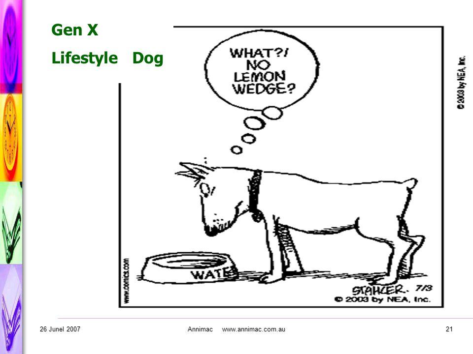 . 26 Junel 2007Annimac www.annimac.com.au21 Gen X Lifestyle Dog