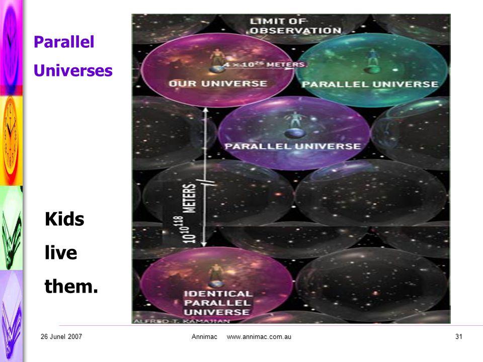 . 26 Junel 2007Annimac www.annimac.com.au31 Parallel Universes Kids live them.