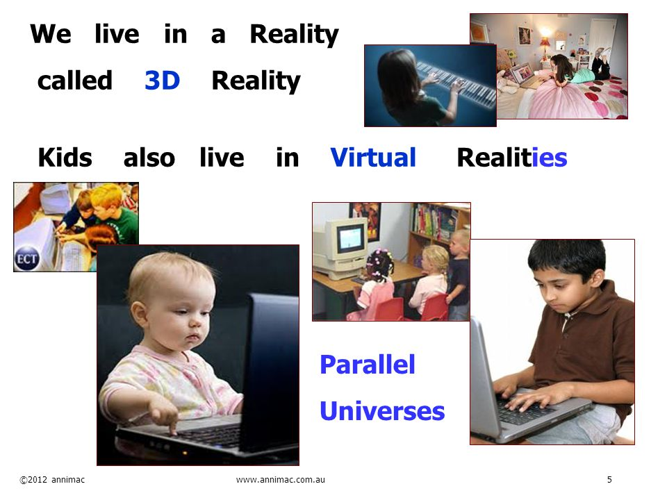 ©2012 annimac www.annimac.com.au 5 We live in a Reality called 3D Reality Kids also live in Virtual Realities Parallel Universes