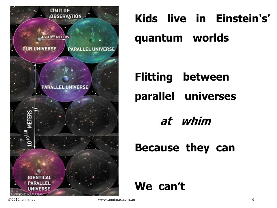 ©2012 annimac www.annimac.com.au 6 Kids live in Einstein s' quantum worlds Flitting between parallel universes at whim Because they can We can't