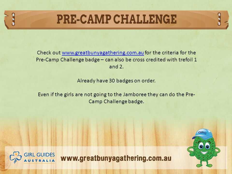 Check out www.greatbunyagathering.com.au for the criteria for the Pre-Camp Challenge badge – can also be cross credited with trefoil 1 and 2.www.greatbunyagathering.com.au Already have 30 badges on order.