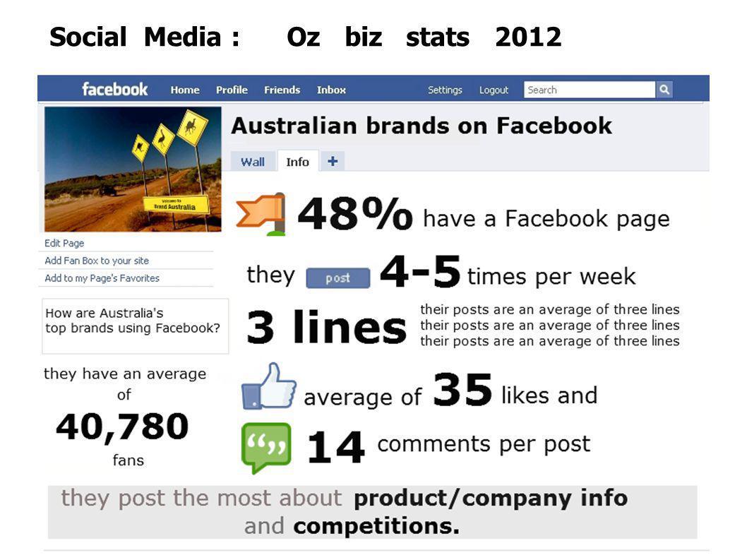 Social Media : Oz biz stats 2012