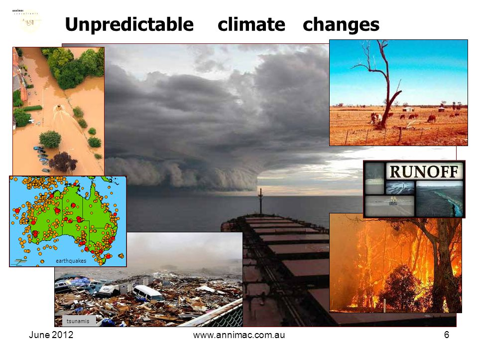 June 2012www.annimac.com.au6 Unpredictable climate changes earthquakes tsunamis