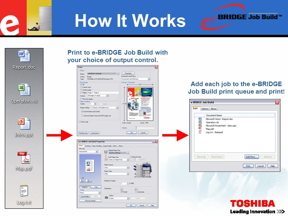 How It Works Print to e-BRIDGE Job Build with your choice of output control. Add each job to the e-BRIDGE Job Build print queue and print !
