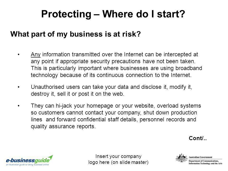 Insert your company logo here (on slide master) Protecting – Where do I start? Any information transmitted over the Internet can be intercepted at any