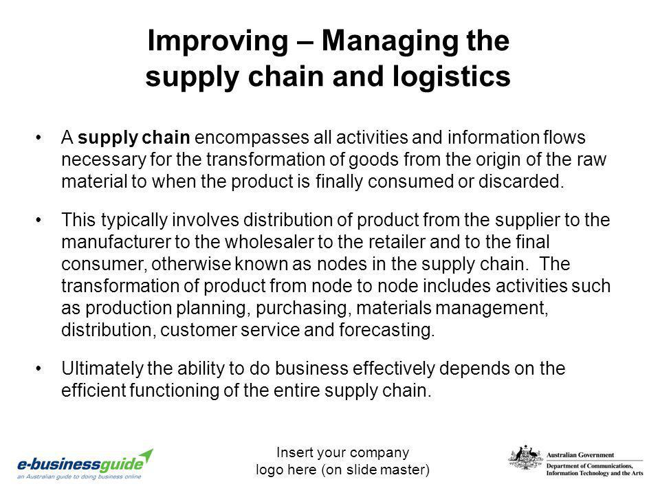 Insert your company logo here (on slide master) Improving – Managing the supply chain and logistics A supply chain encompasses all activities and info