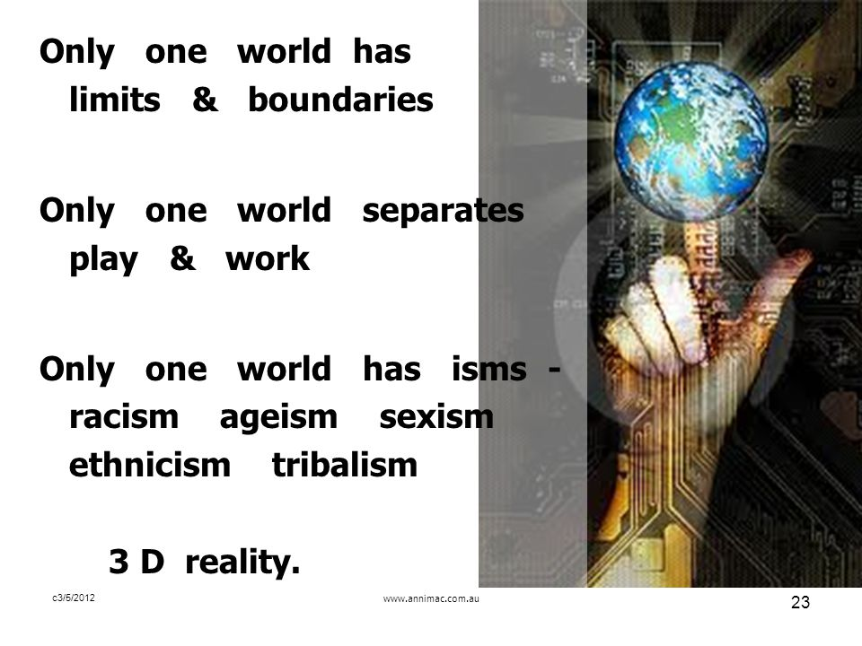 www.annimac.com.au 23 c3/5/2012 Only one world has limits & boundaries Only one world separates play & work Only one world has isms - racism ageism sexism ethnicism tribalism 3 D reality.