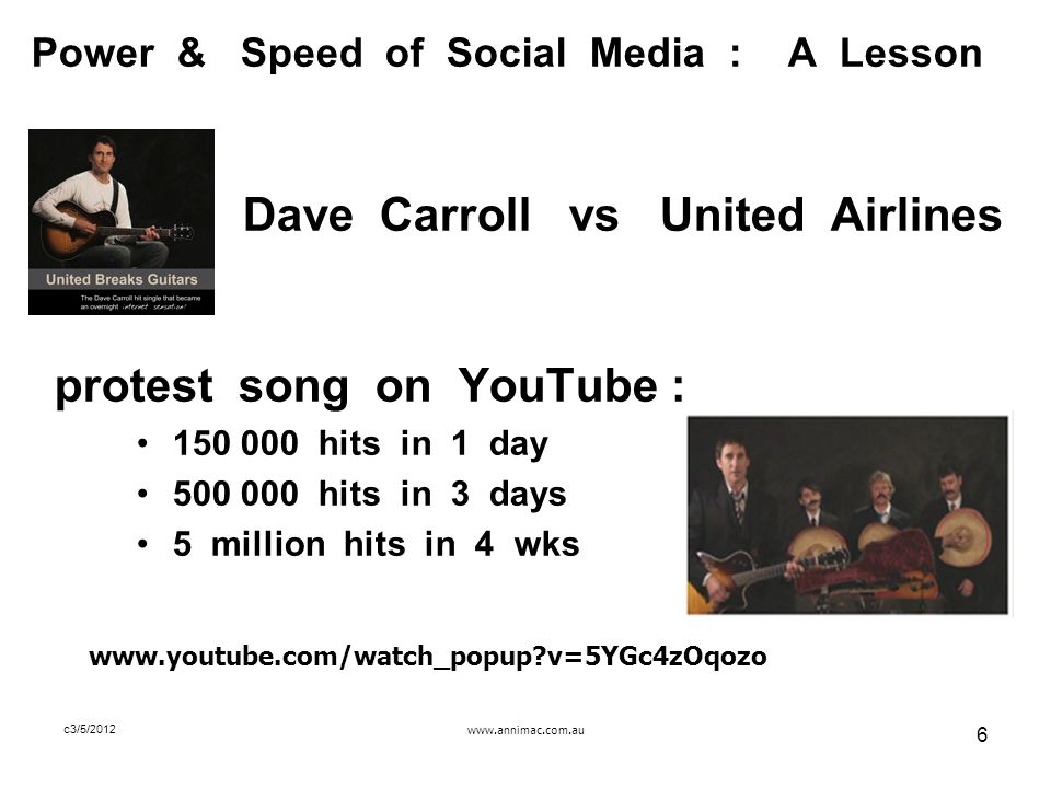 www.annimac.com.au 6 c3/5/2012 Power & Speed of Social Media : A Lesson Dave Carroll vs United Airlines protest song on YouTube : 150 000 hits in 1 day 500 000 hits in 3 days 5 million hits in 4 wks www.youtube.com/watch_popup?v=5YGc4zOqozo
