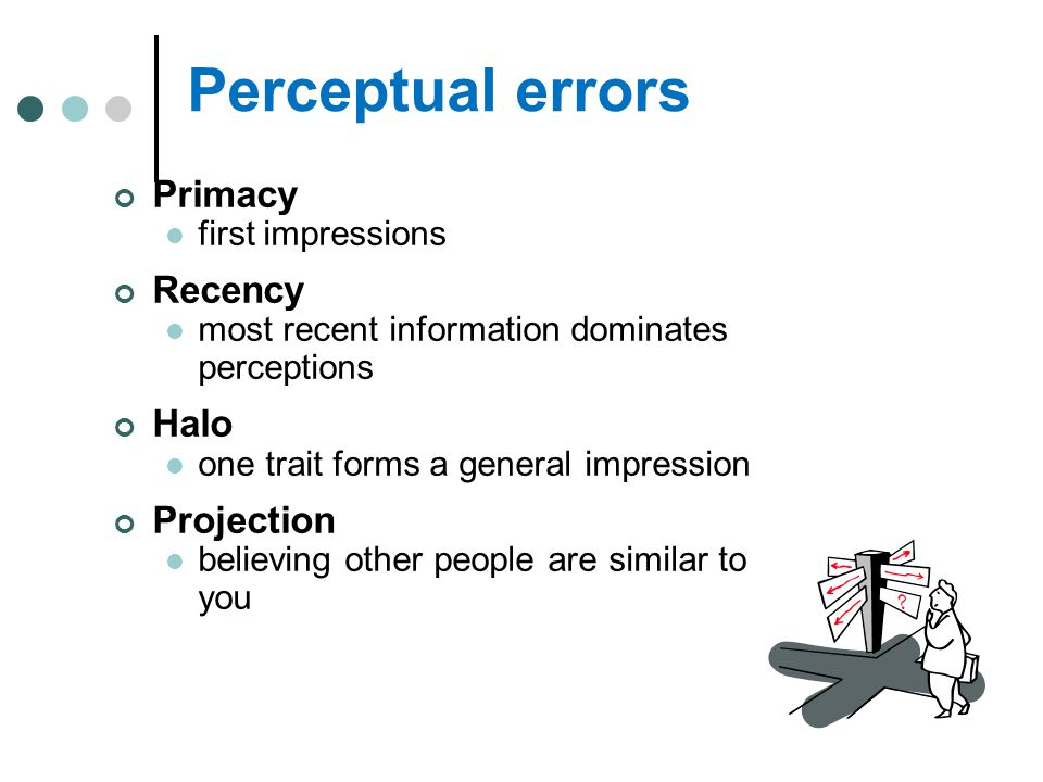 Perceptual errors Primacy first impressions Recency most recent information dominates perceptions Halo one trait forms a general impression Projection