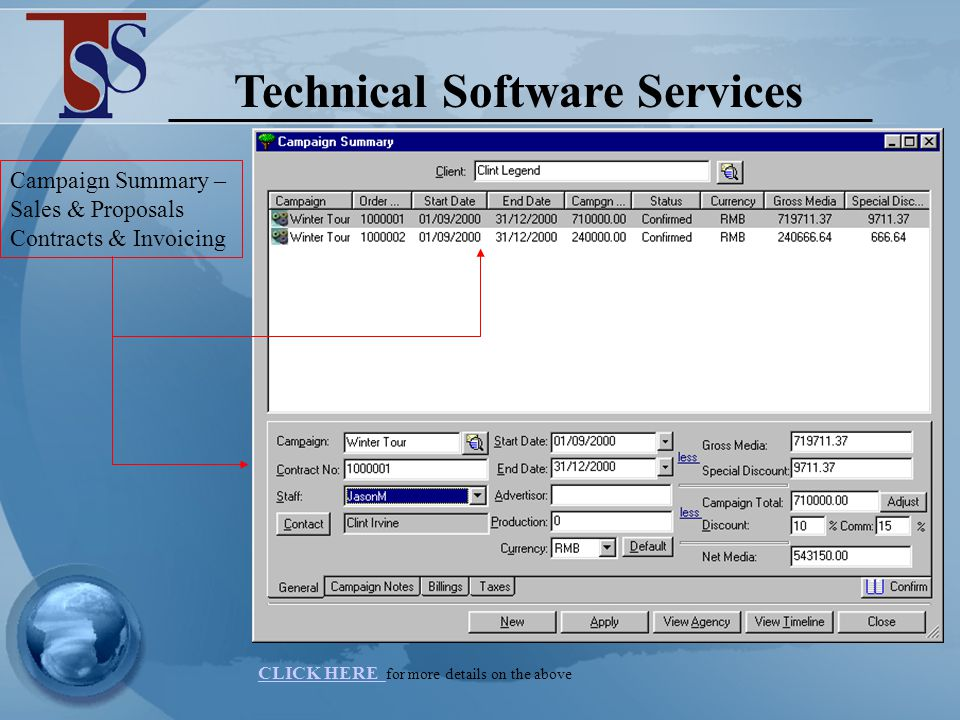 Technical Software Services SALES CAMPAIGN SUMMARY – is our set up area for our campaign details.