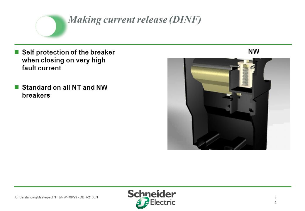 Understanding Masterpact NT & NW - 09/99 - DBTP213EN 1313 Mitop trip solenoid Transforms the trip command into a mechanical operation to open the brea