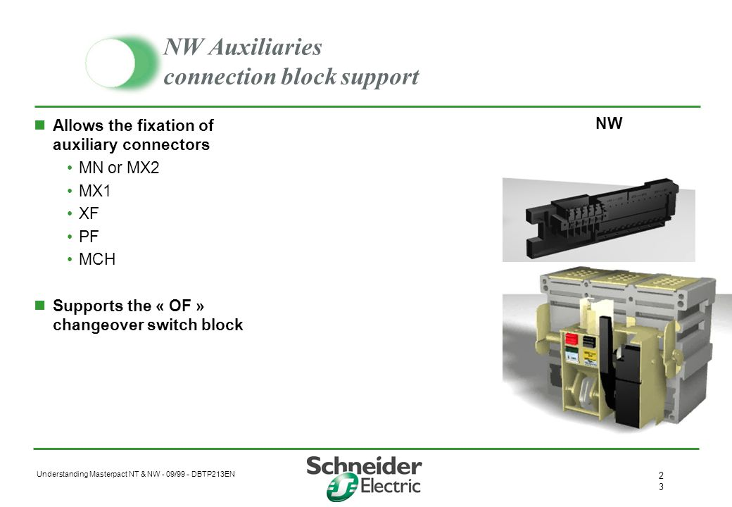 Understanding Masterpact NT & NW - 09/99 - DBTP213EN 2 Voltage releases Closing (XF) & opening (MX) coils AC 50/ 60 Hz –from 12V to 525V –8 references