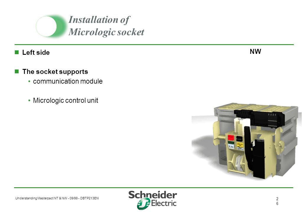 Understanding Masterpact NT & NW - 09/99 - DBTP213EN 2525 Ready to close contact PF Changeover contact 10A 240V Indicates : the breaker is open the st