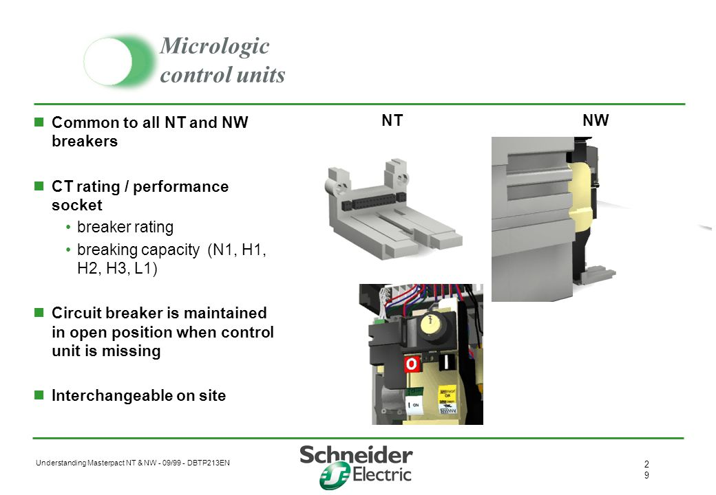 Understanding Masterpact NT & NW - 09/99 - DBTP213EN 2828 Micrologic control units 4 protection levels LI, LSI, LSIG, LSIV Combined with 3 measurement