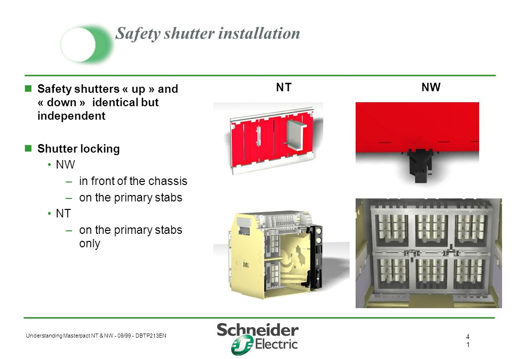 Understanding Masterpact NT & NW - 09/99 - DBTP213EN 4040 Shutters actuator Reversible upper and lower Quick installation Controlled by rear of breake