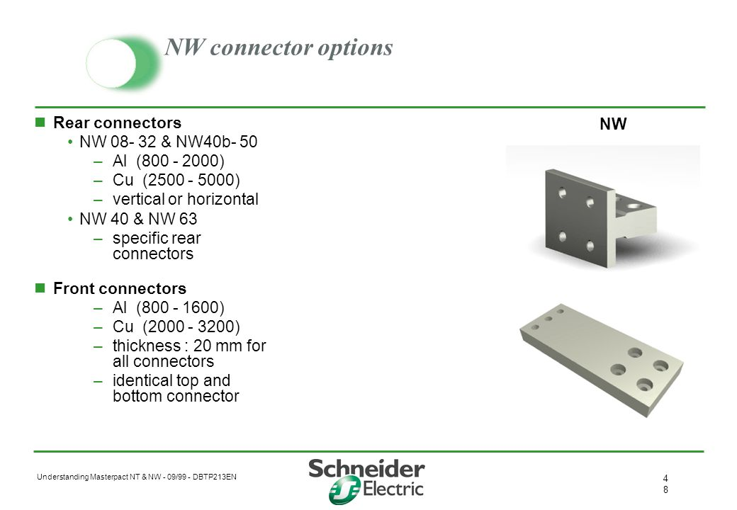 Understanding Masterpact NT & NW - 09/99 - DBTP213EN 4747 Primary connectors Connector options Rear connectors Mixed connectors Front connectors Retur