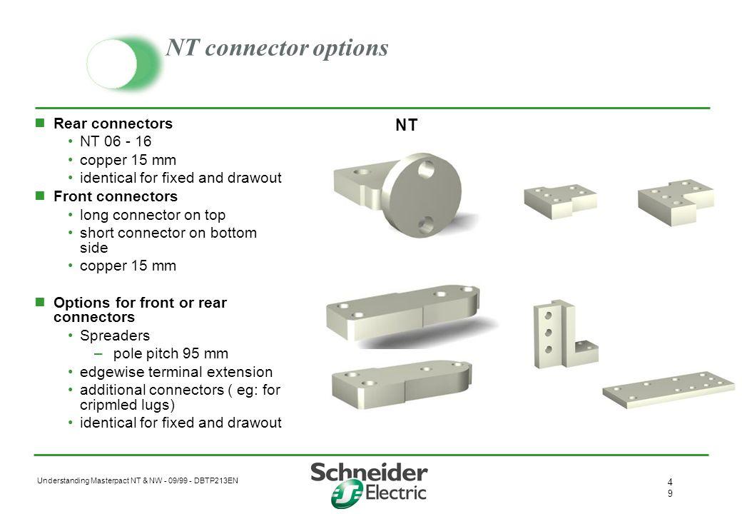 Understanding Masterpact NT & NW - 09/99 - DBTP213EN 4848 NW connector options Rear connectors NW 08- 32 & NW40b- 50 –Al (800 - 2000) –Cu (2500 - 5000
