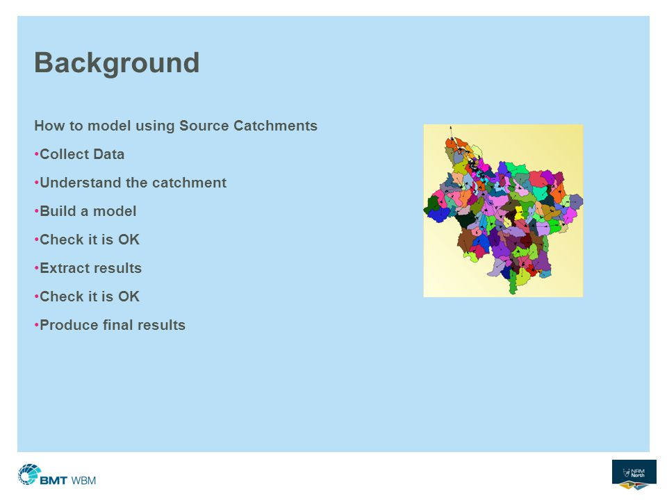 Background How to model using Source Catchments Collect Data Understand the catchment Build a model Check it is OK Extract results Check it is OK Prod
