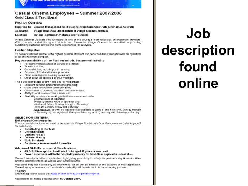 Job description found online