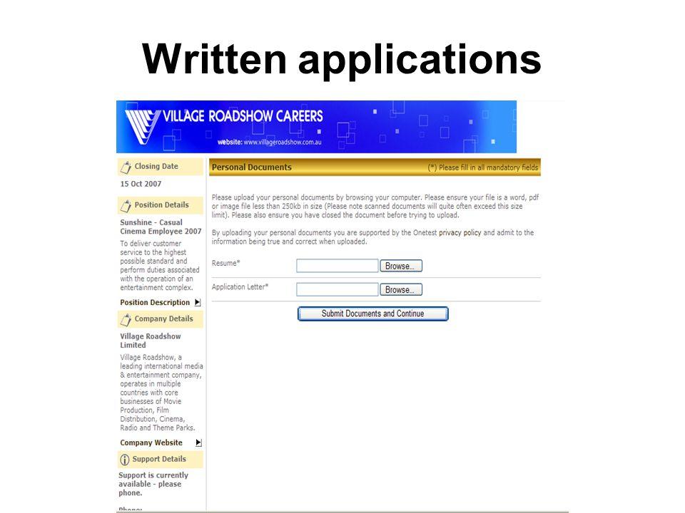 Written applications