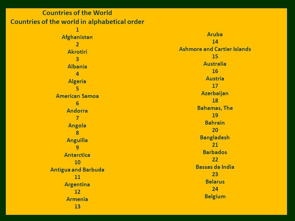 Countries of the World Countries of the world in alphabetical order 1 Afghanistan 2 Akrotiri 3 Albania 4 Algeria 5 American Samoa 6 Andorra 7 Angola 8